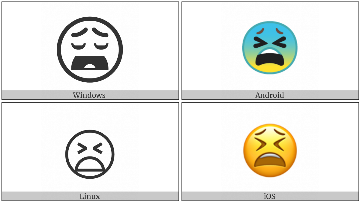 Tired Face on various operating systems