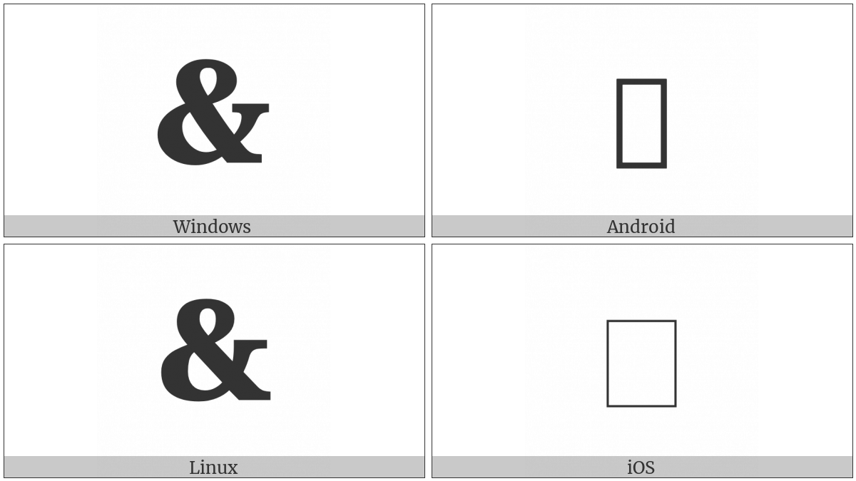 Heavy Ampersand Ornament on various operating systems