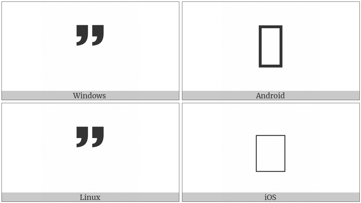 Sans-Serif Heavy Double Comma Quotation Mark Ornament on various operating systems