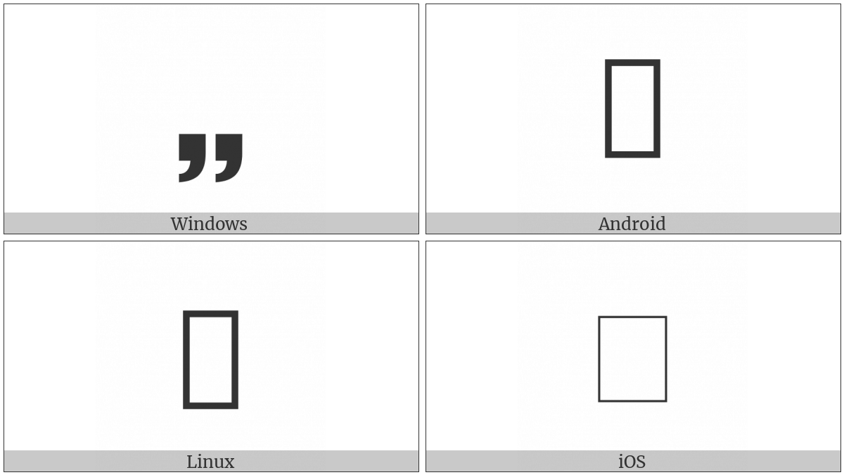 Sans-Serif Heavy Low Double Comma Quotation Mark Ornament on various operating systems