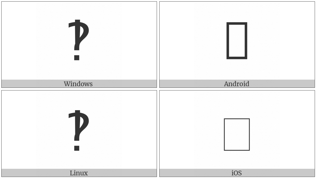 Sans-Serif Interrobang Ornament on various operating systems