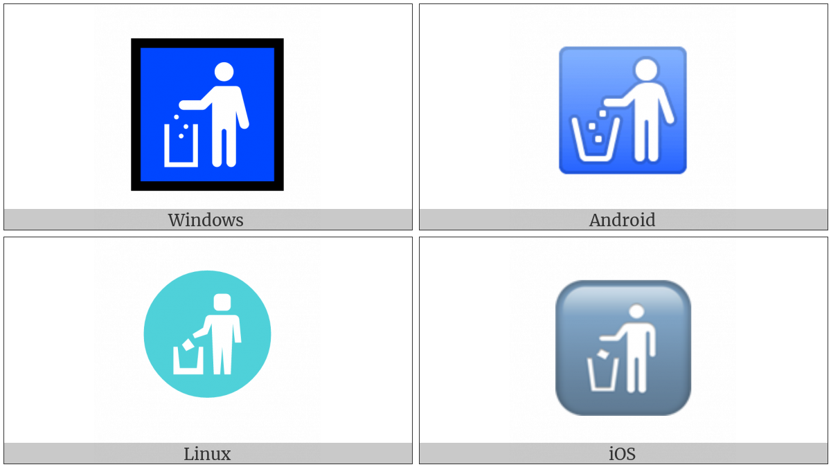 Put Litter In Its Place Symbol on various operating systems