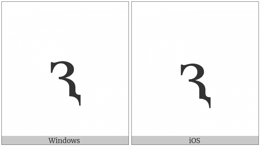 Cyrillic Small Letter Komi Dzje on various operating systems