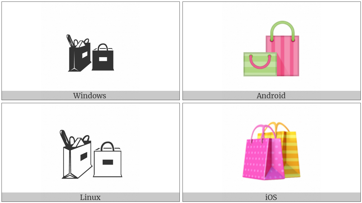 Shopping Bags on various operating systems