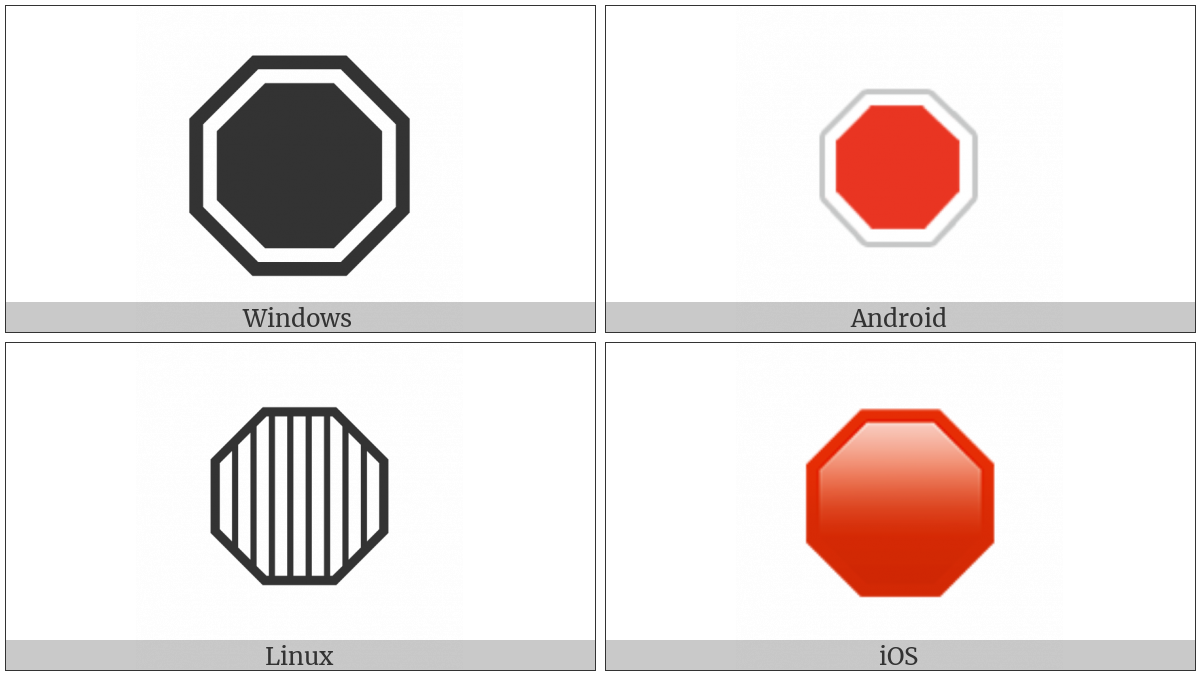 Octagonal Sign on various operating systems