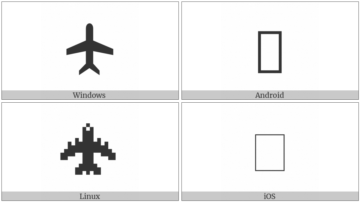 Up-Pointing Airplane on various operating systems
