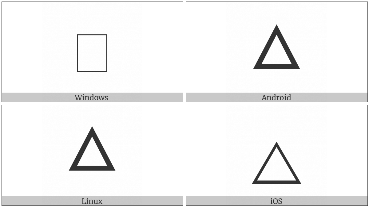 Alchemical Symbol For Fire on various operating systems