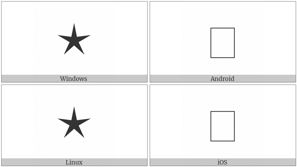 Light Five Pointed Black Star on various operating systems