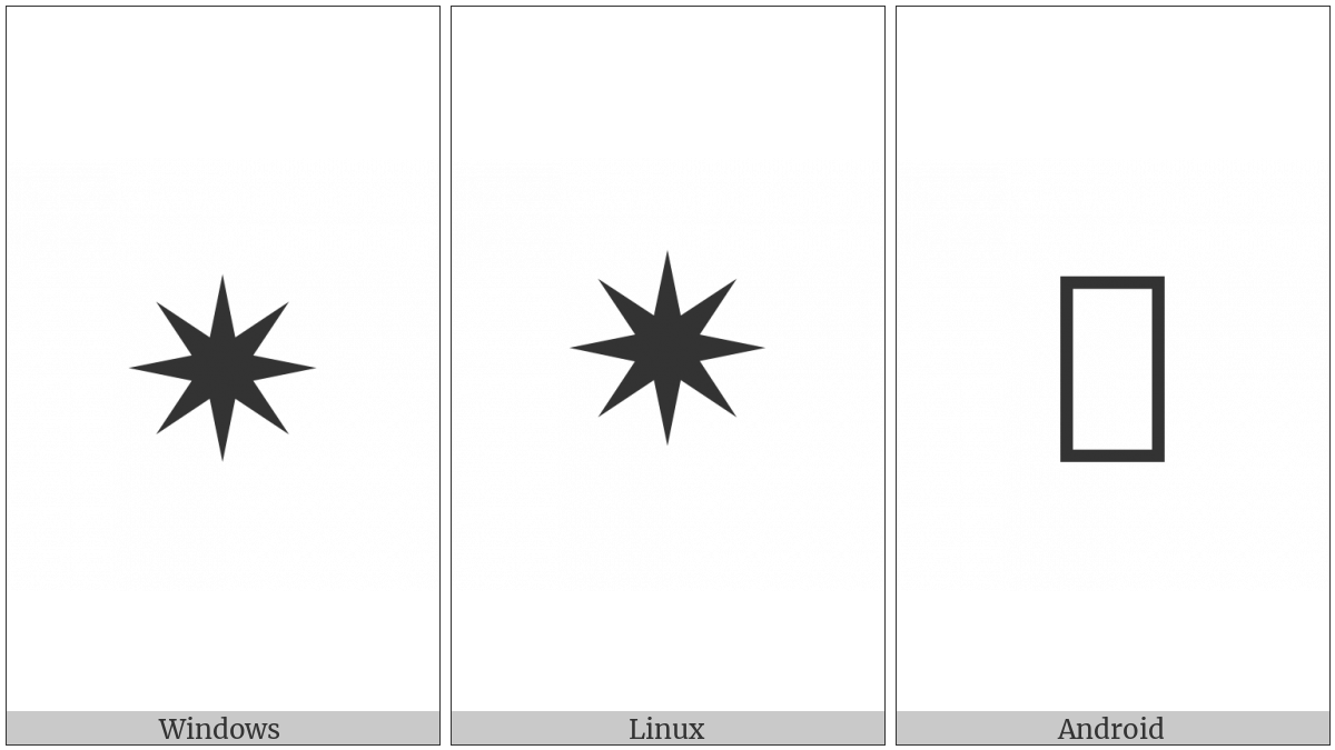 Medium Eight Pointed Black Star on various operating systems