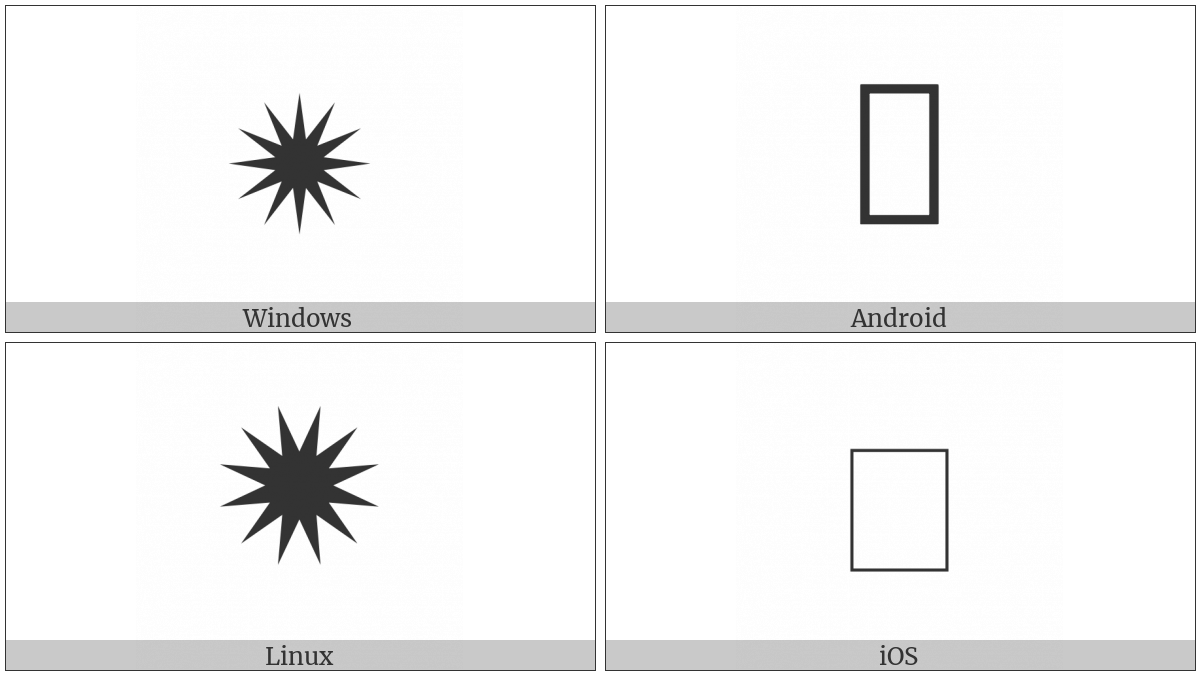 Light Twelve Pointed Black Star on various operating systems