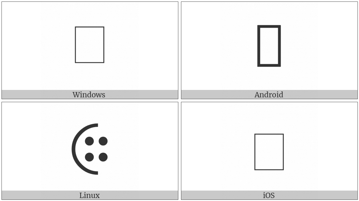 Left Half Circle With Four Dots on various operating systems