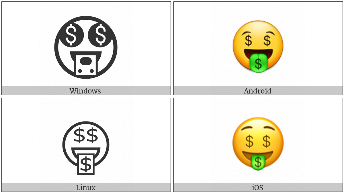 Money-Mouth Face on various operating systems