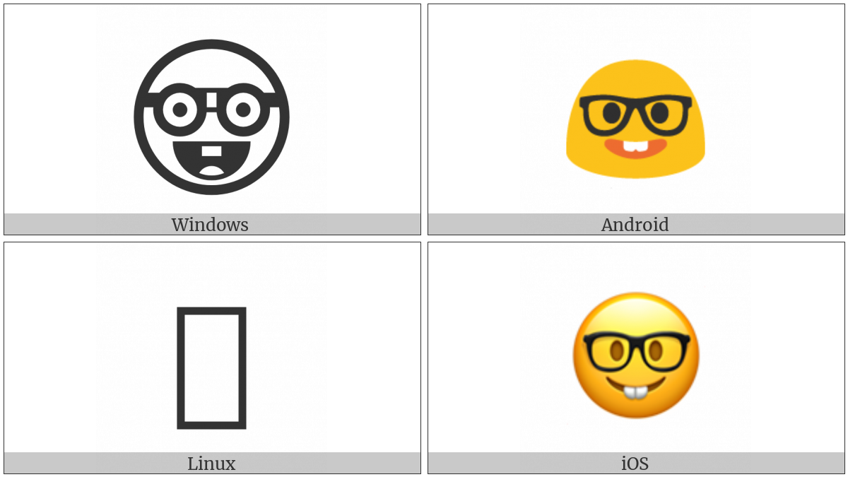 Nerd Face on various operating systems
