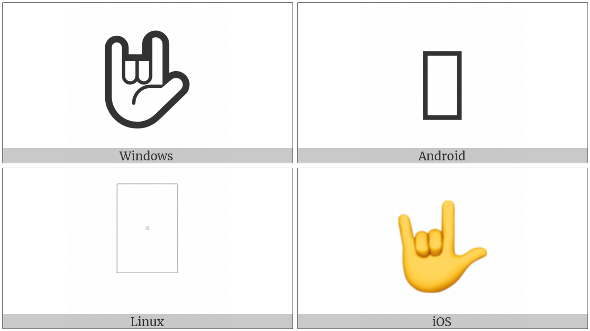 I Love You Hand Sign on various operating systems