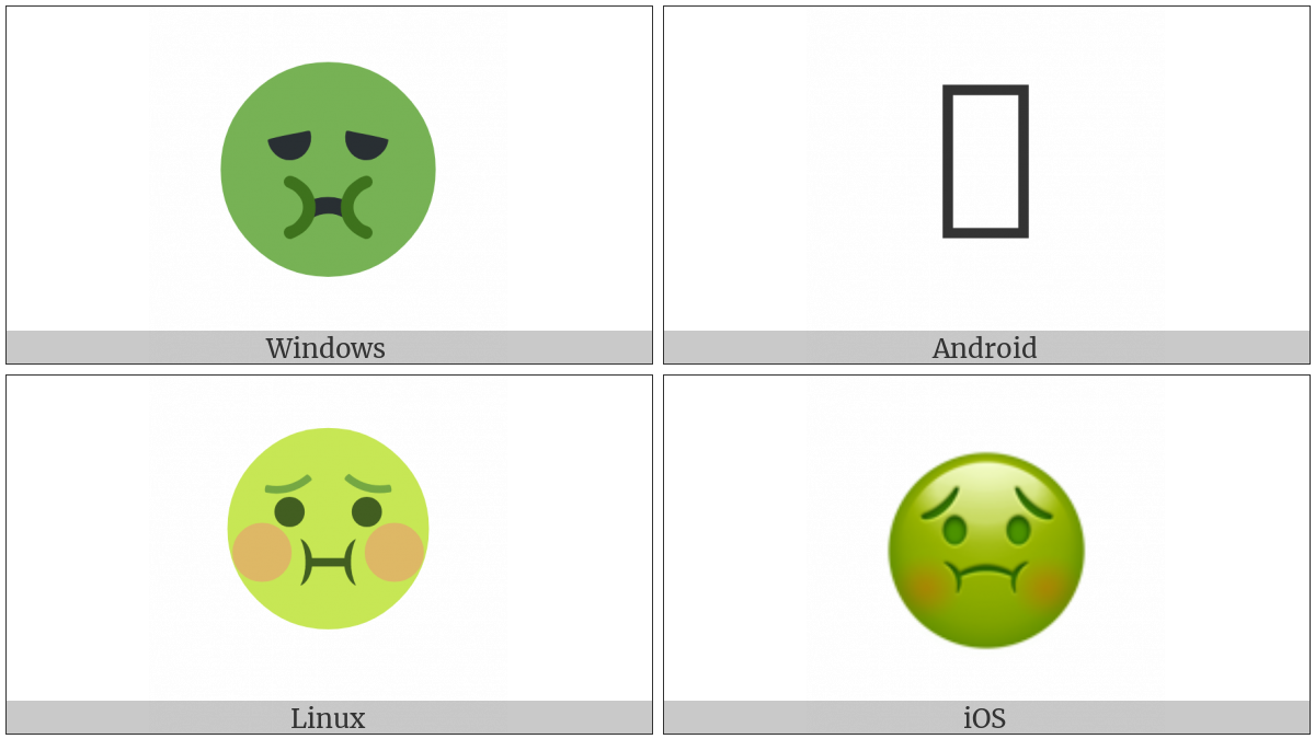 Nauseated Face on various operating systems