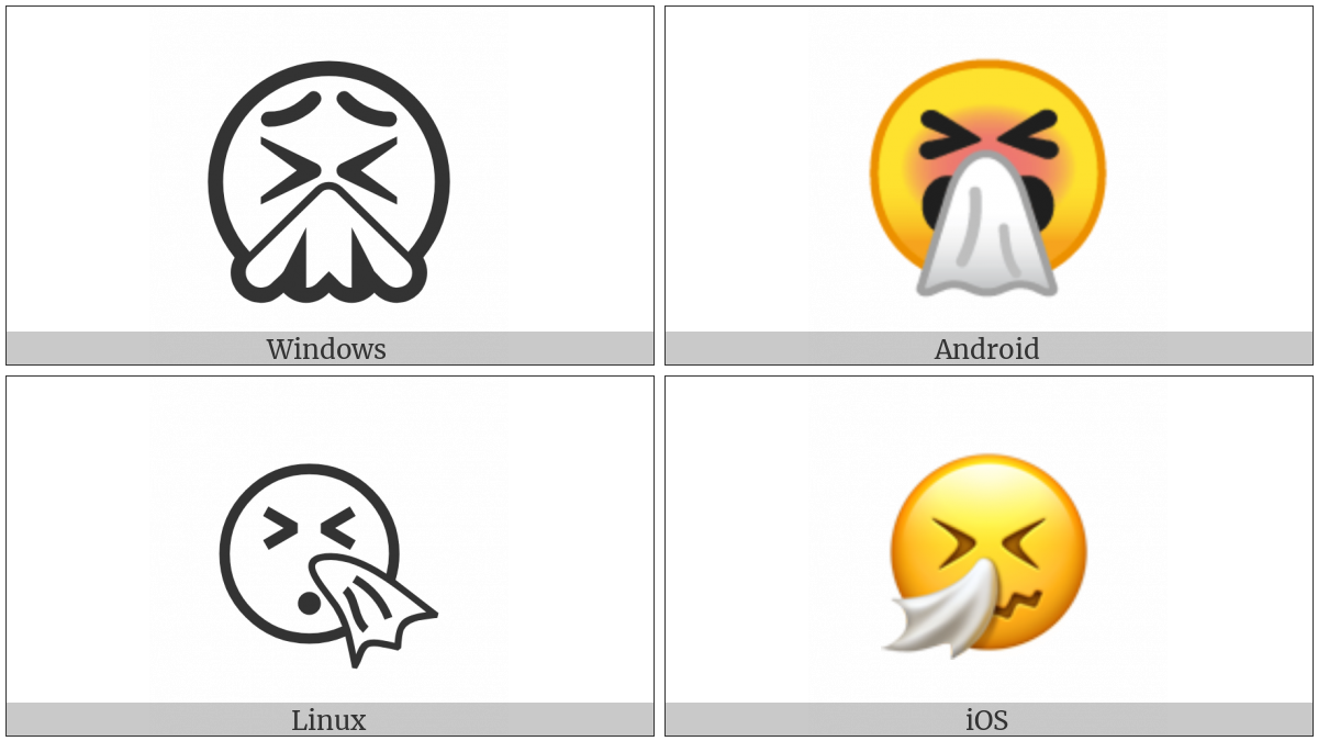 Sneezing Face on various operating systems