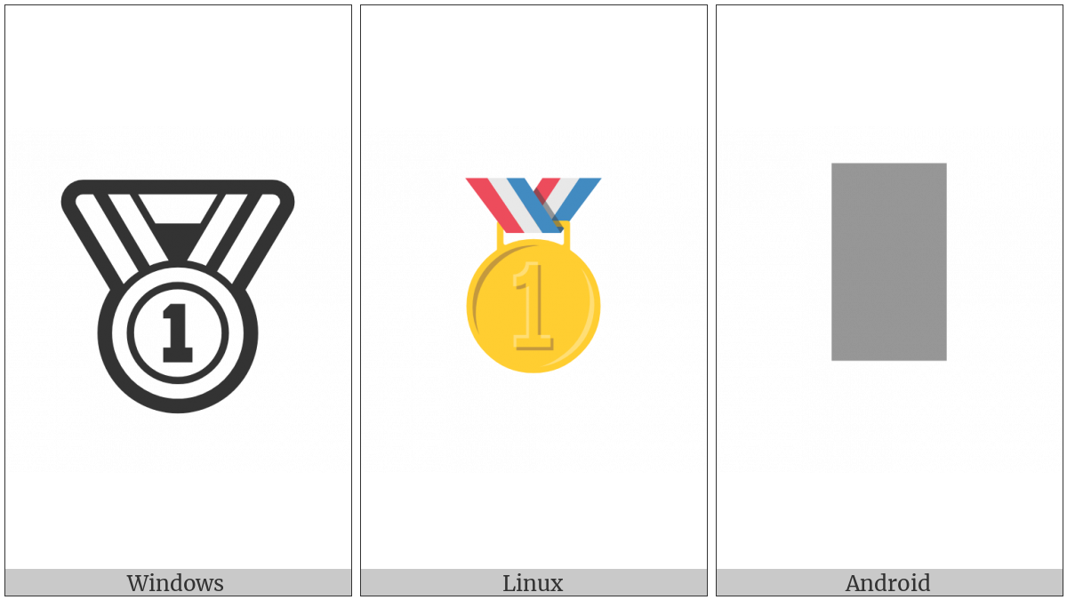 First Place Medal on various operating systems