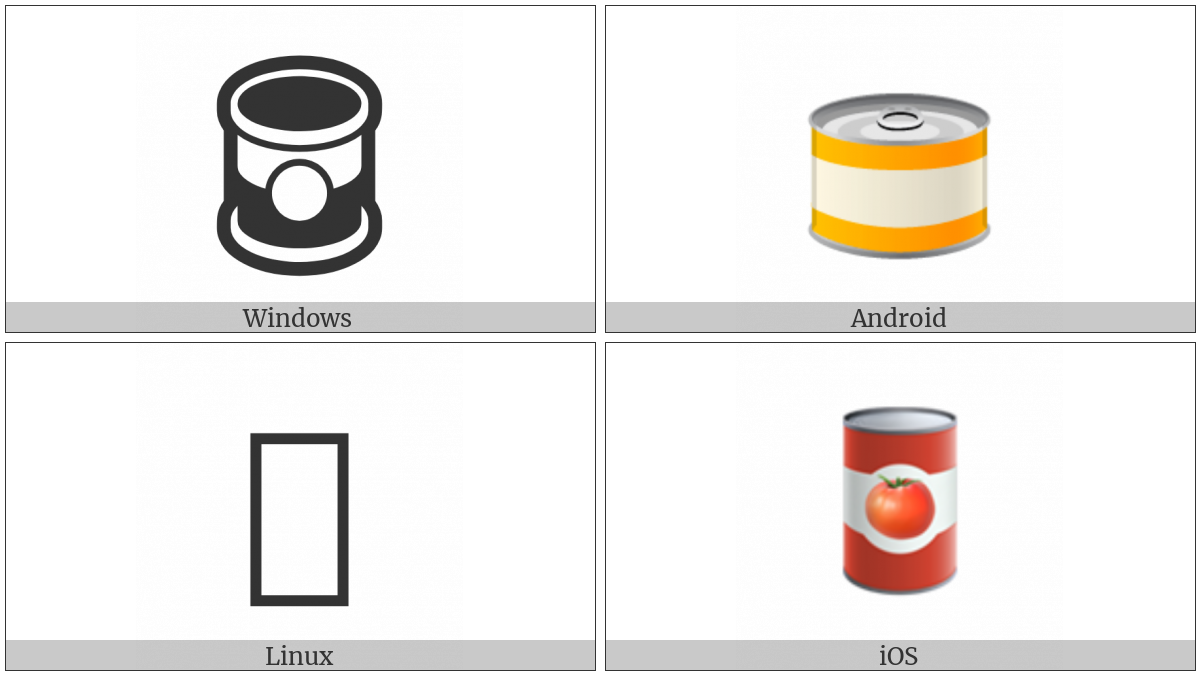 Canned Food on various operating systems