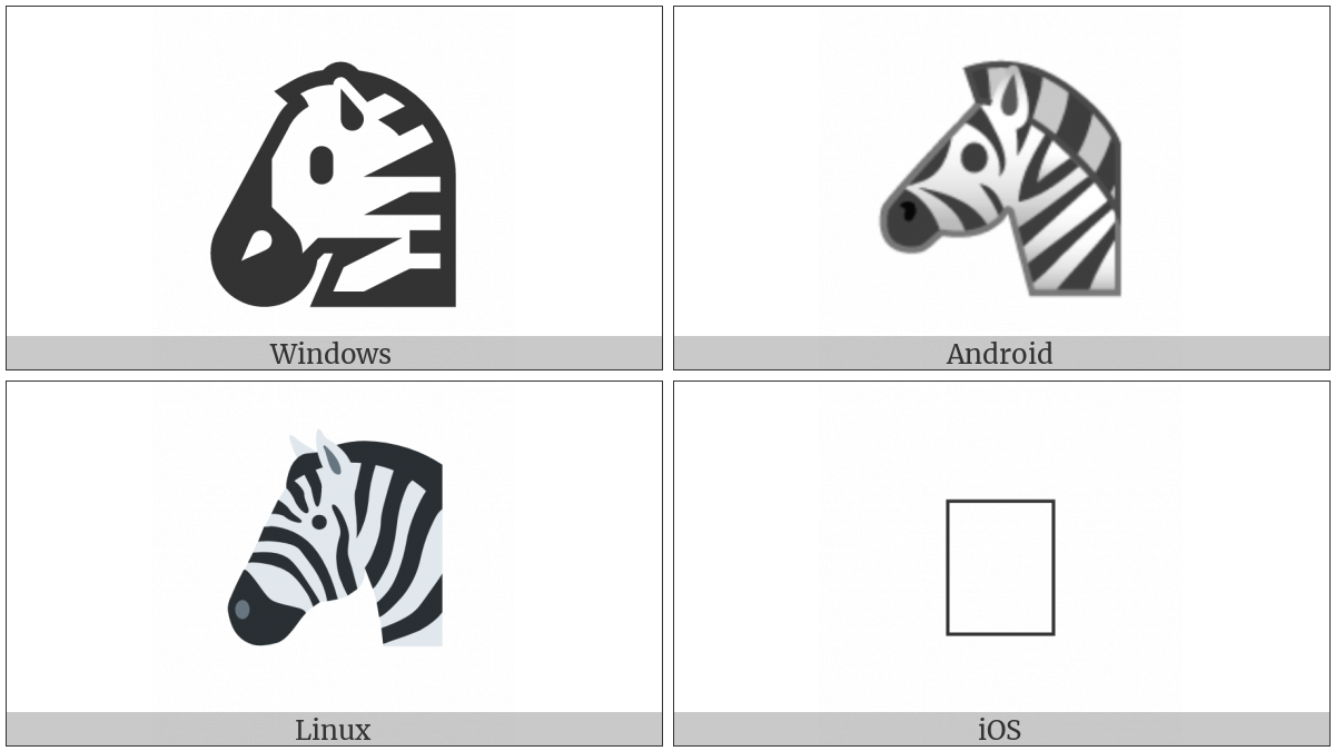 Zebra Face on various operating systems
