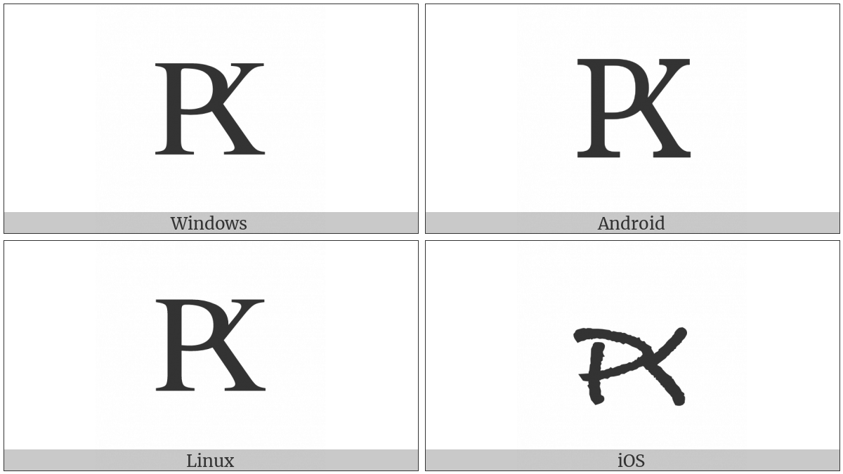 Cyrillic Capital Letter Rha on various operating systems