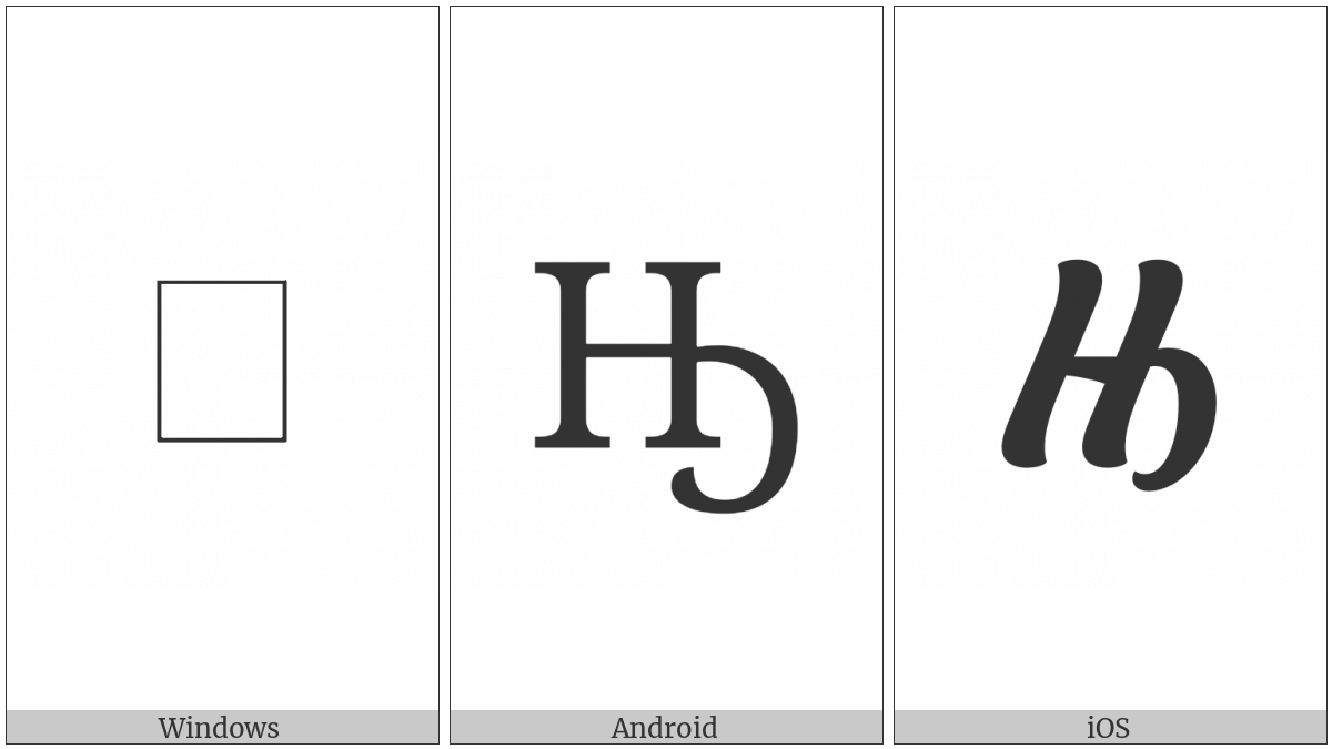 Cyrillic Capital Letter En With Middle Hook on various operating systems