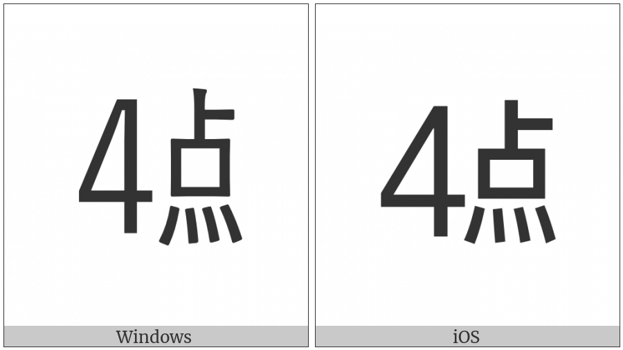 Ideographic Telegraph Symbol For Hour Four on various operating systems