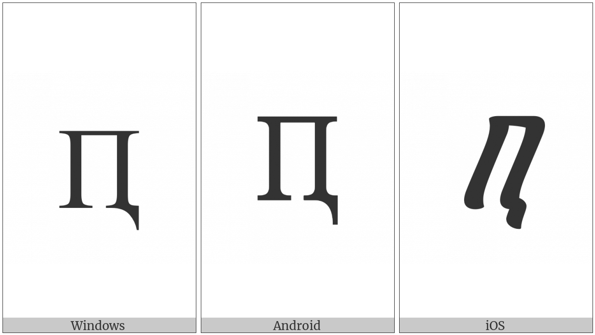 Cyrillic Capital Letter Pe With Descender on various operating systems