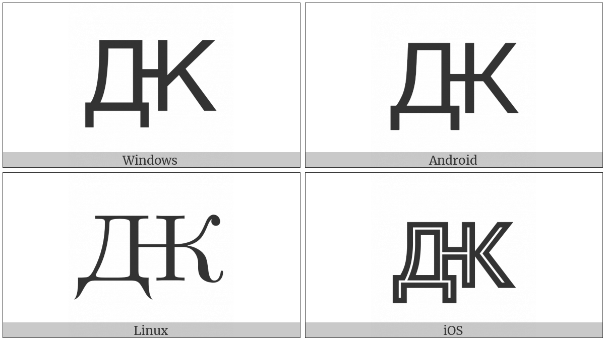 Cyrillic Capital Letter Dzzhe on various operating systems