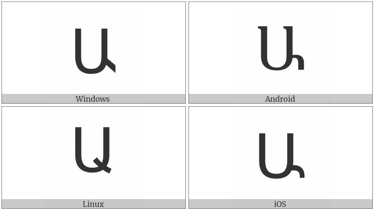 Armenian Capital Letter Ayb on various operating systems