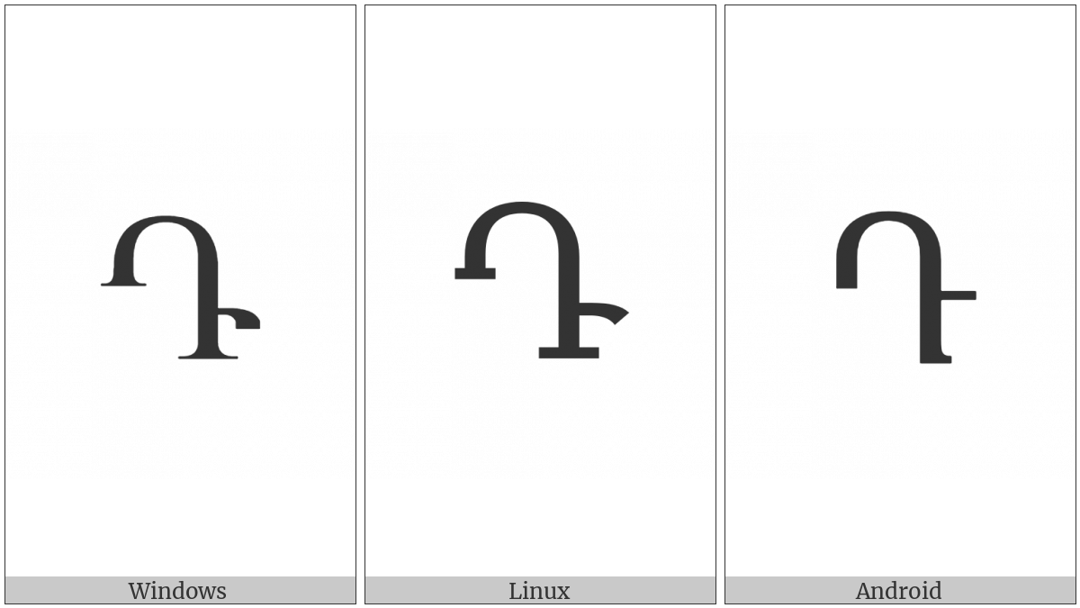 Armenian Capital Letter Da on various operating systems