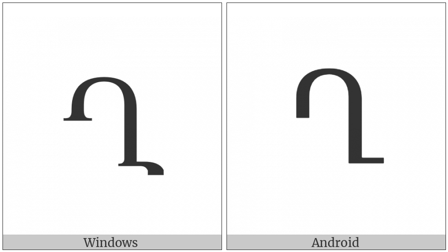 Armenian Capital Letter Ghad on various operating systems