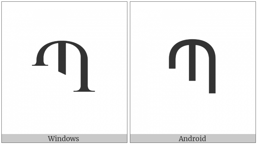 Armenian Capital Letter Peh on various operating systems