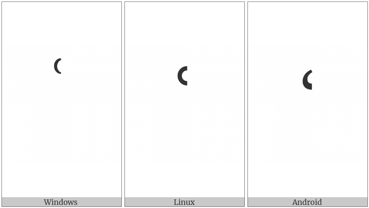Armenian Modifier Letter Left Half Ring on various operating systems