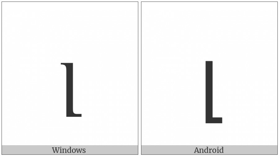 Armenian Small Letter Liwn on various operating systems