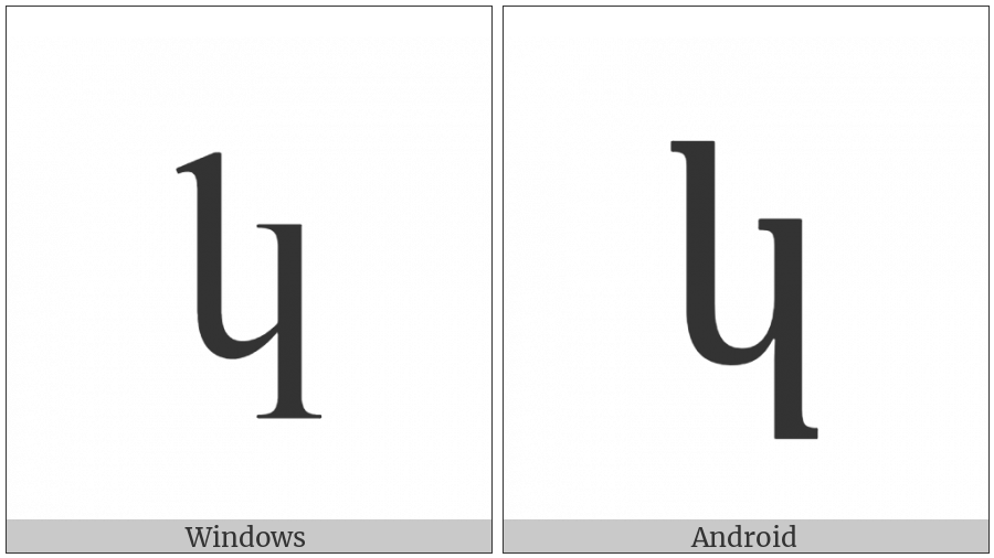 Armenian Small Letter Ken on various operating systems