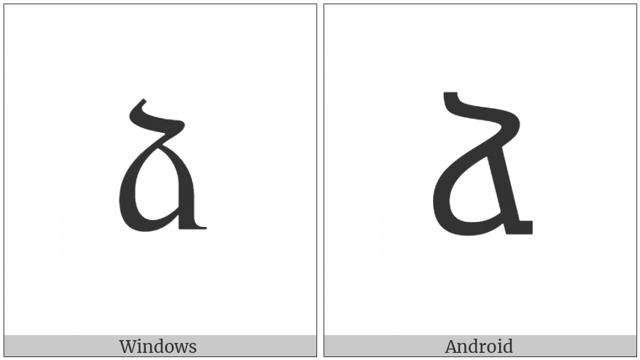 Armenian Small Letter Ja on various operating systems