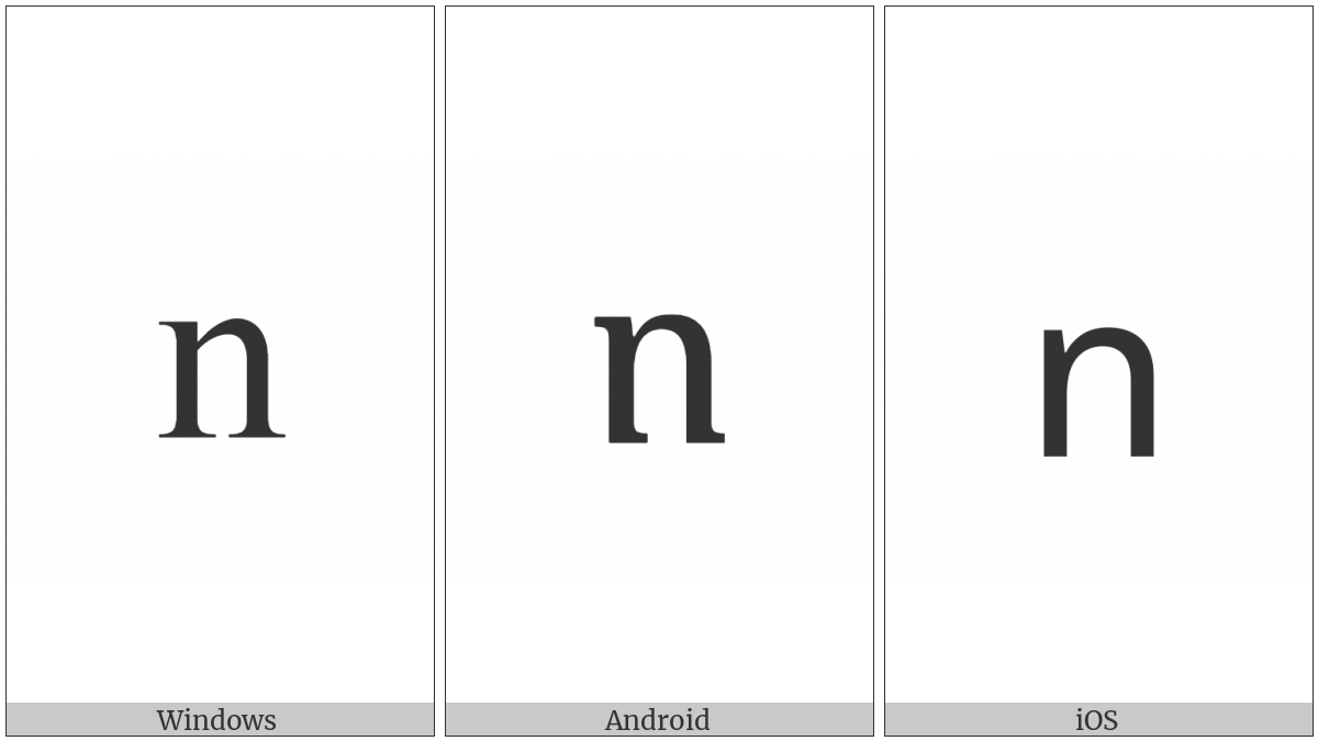 Armenian Small Letter Vo on various operating systems