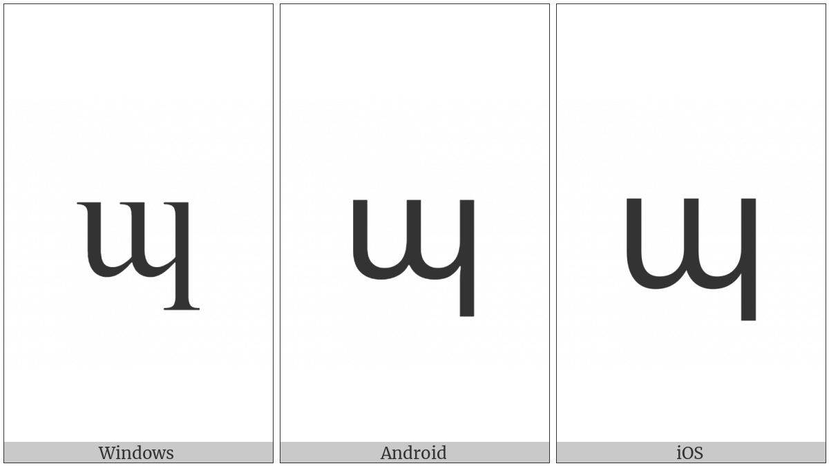 Armenian Small Letter Peh on various operating systems