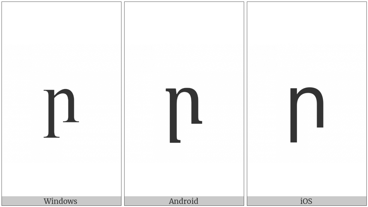 Armenian Small Letter Reh on various operating systems