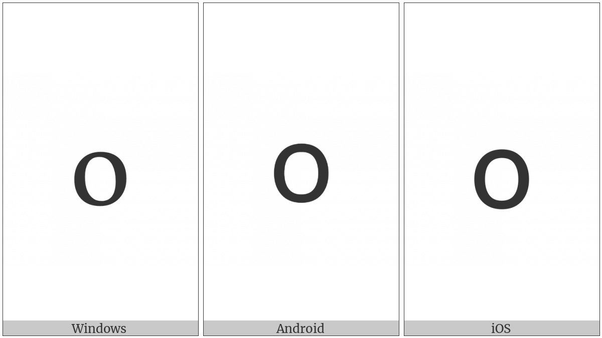 Armenian Small Letter Oh on various operating systems