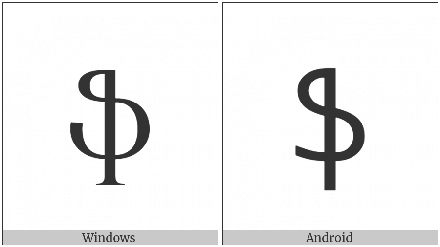 Armenian Small Letter Feh on various operating systems