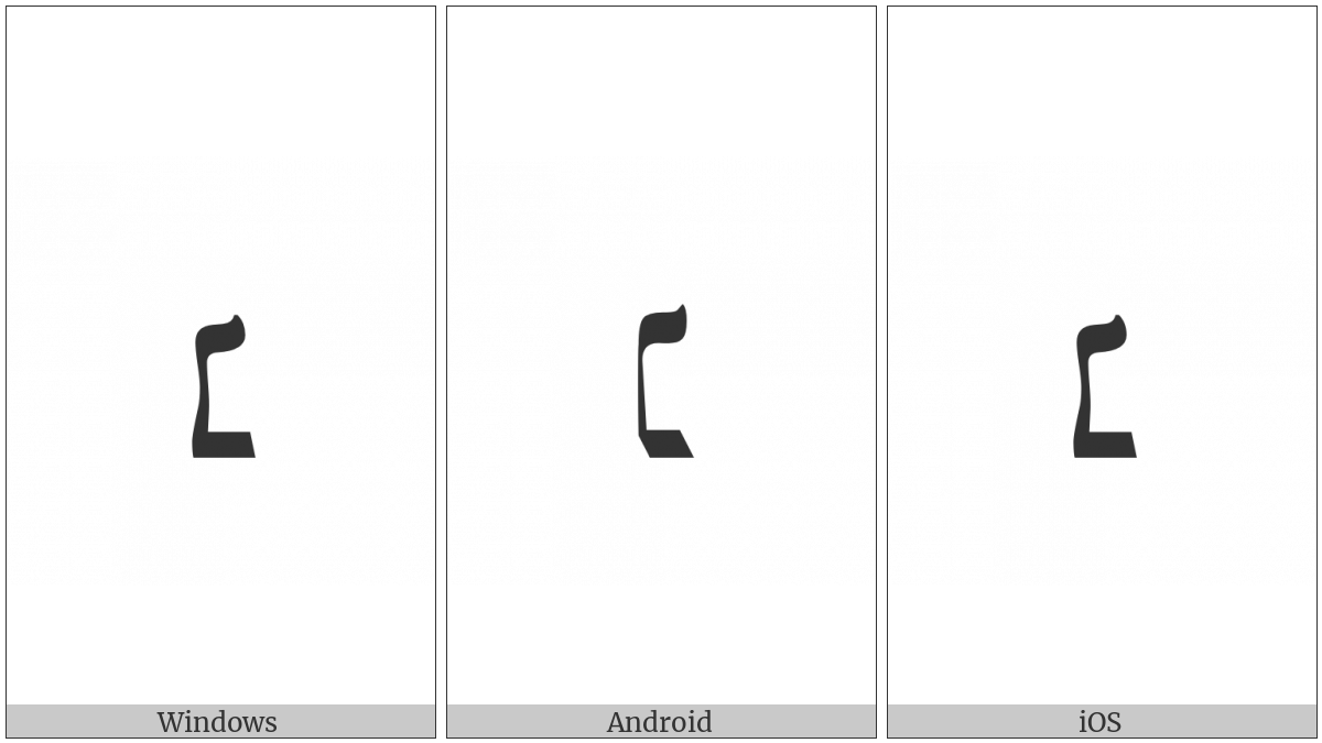 Hebrew Punctuation Nun Hafukha on various operating systems