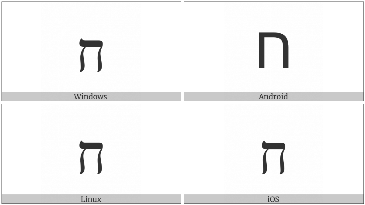 Hebrew Letter Het on various operating systems