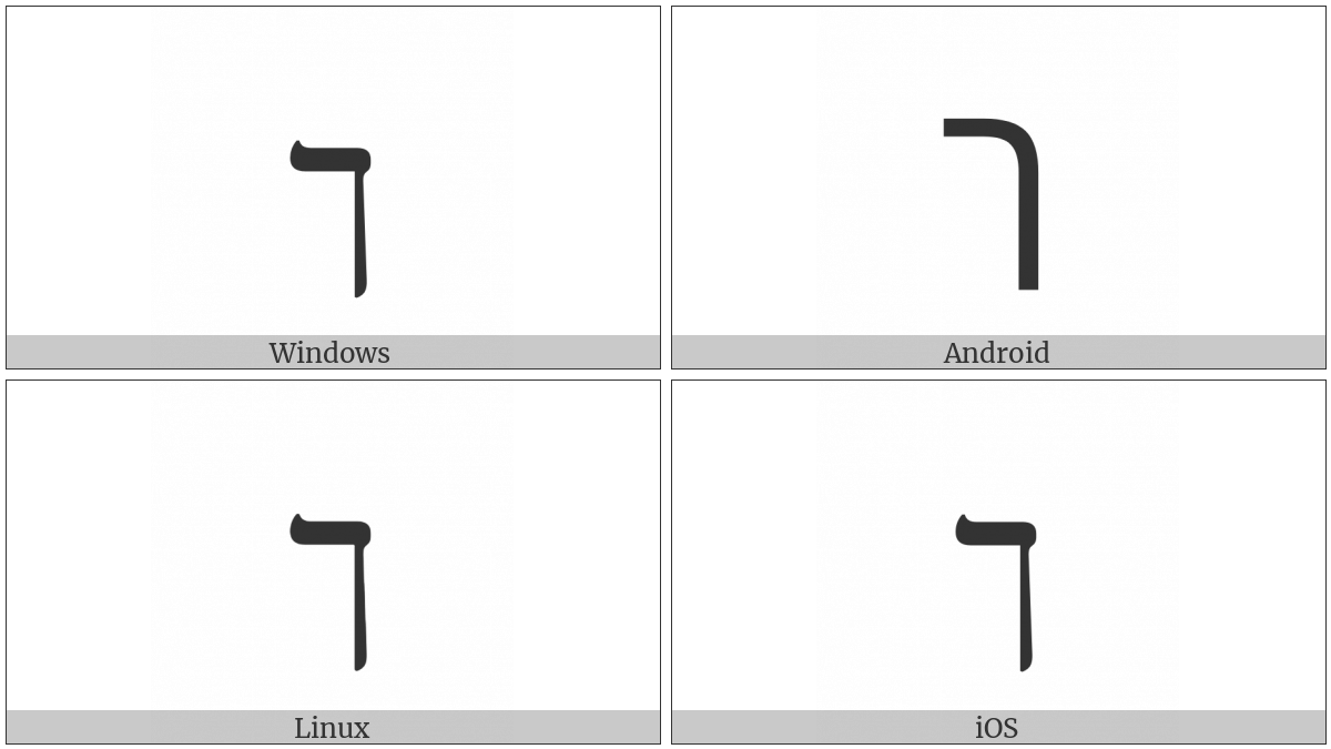Hebrew Letter Final Kaf on various operating systems