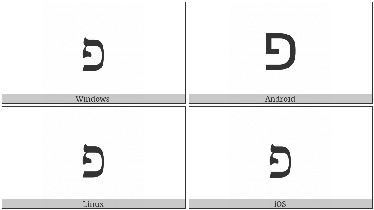 Hebrew Letter Pe on various operating systems