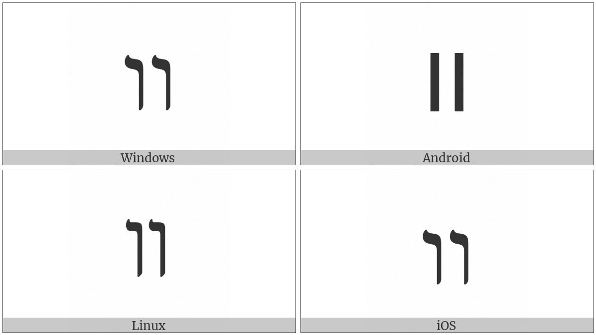Hebrew Ligature Yiddish Double Vav on various operating systems