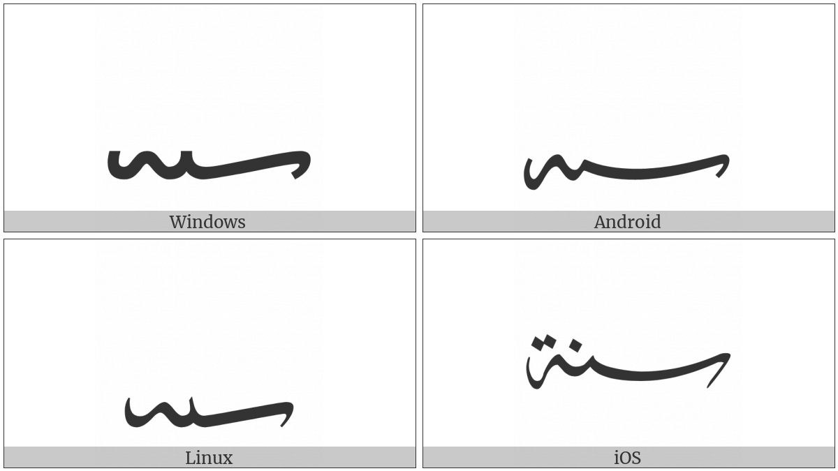 Arabic Sign Sanah on various operating systems