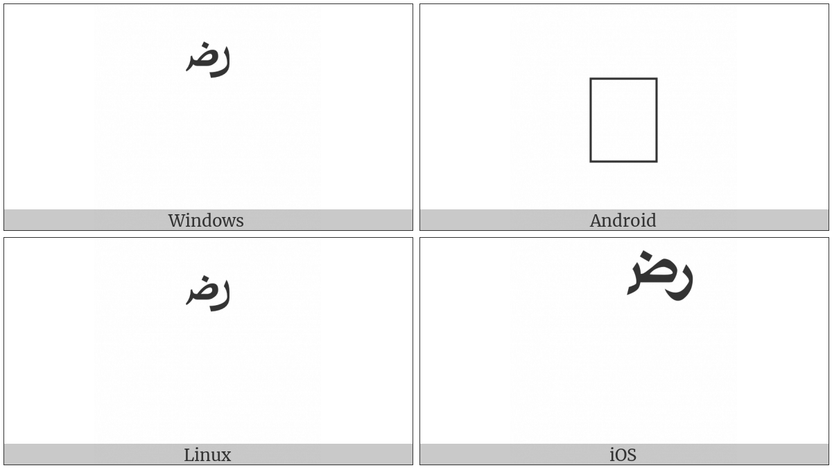 Arabic Sign Radi Allahou Anhu on various operating systems