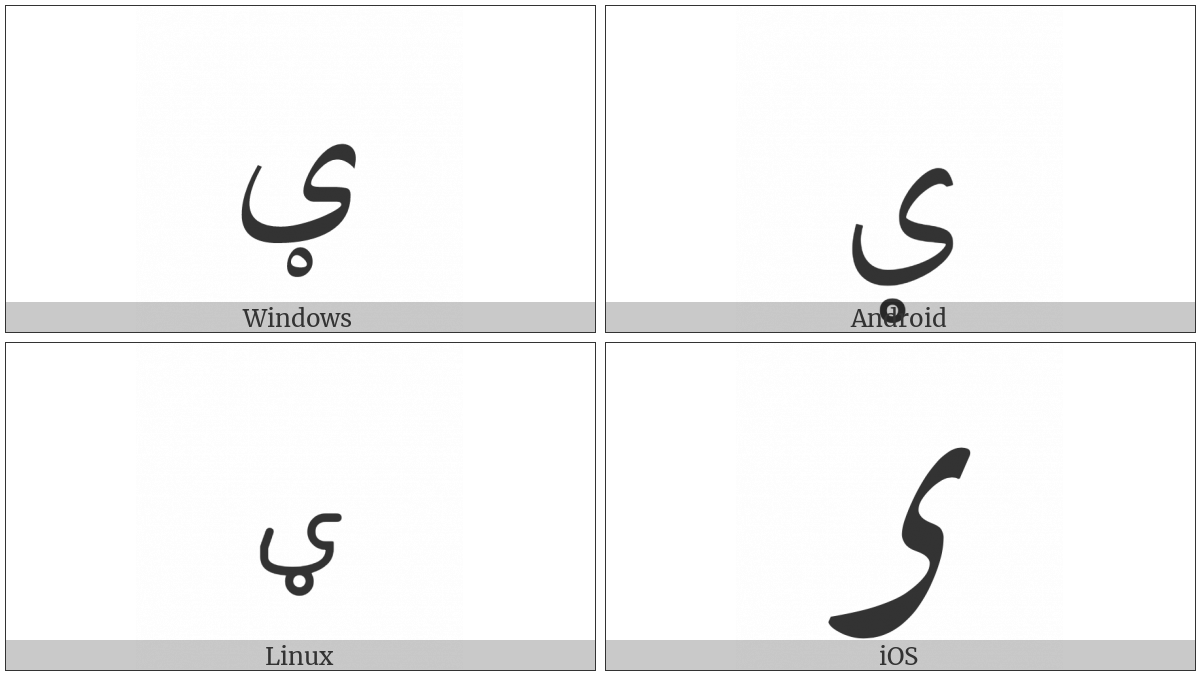 Arabic Letter Kashmiri Yeh on various operating systems