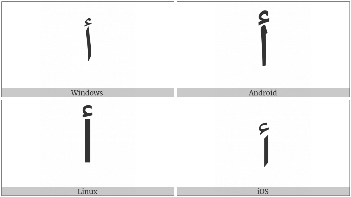 Arabic Letter Alef With Hamza Above on various operating systems